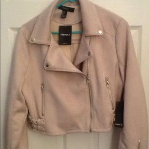 FOREVER 21 TAN LEATHER MOTO BIKER JACKET sz L, NWT